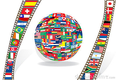 Filmstrip and ball with national flags