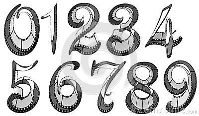 Filmstrip font. Numbers pack