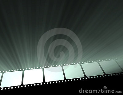 Filmstrip movie glowing light flare