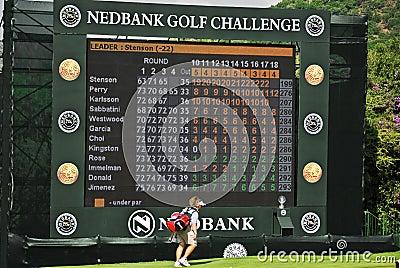 Final Hole Scoreboard - Nedbank Golf Challenge Editorial Stock Photo