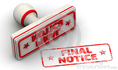 Final notice. Seal and imprint Stock Photo