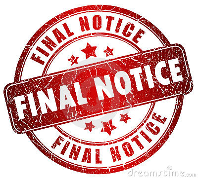 Final notice stamp