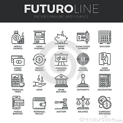 Free Finance And Banking Futuro Line Icons Set Stock Images - 62806564