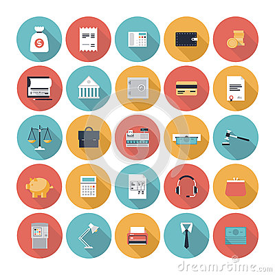 Free Finance And Market Flat Icons Set Royalty Free Stock Photography - 36181887