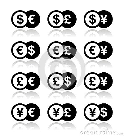 Currency exchange icons set - dollar, euro, yen, pound