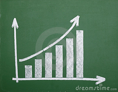Finance business graph on chalkboard economy