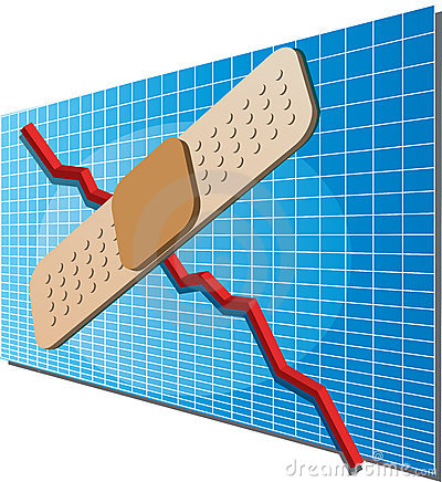 Finance chart with bandaid