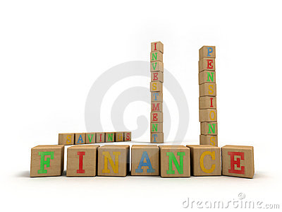 Finance concept - Child s play building blocks