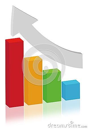 Finance concept- multicolor bar diagram