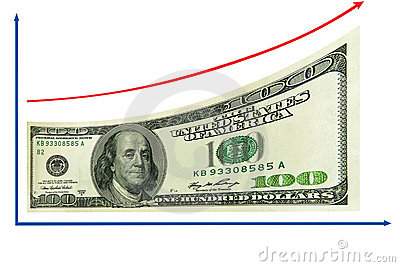 Finance, economy growth by 100 Us dollar. Isolated