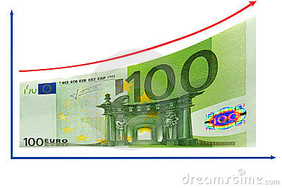 Finance growth by 100 Euro diagram. Isolated.