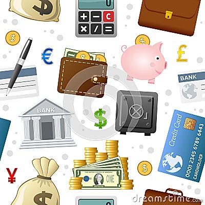 Free Finance Icons Seamless Pattern Stock Photography - 36282602