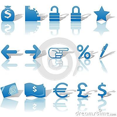 Finance Money Website Icons Set Blue
