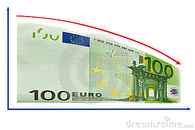 Finance recession by 100 Euro diagram. Isolated.