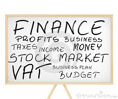 Finance related words cloud on magnetic board