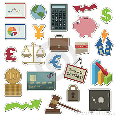 Free Finance Stickers Royalty Free Stock Photography - 9568367
