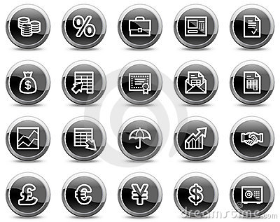 Finance web icons, black glossy circle buttons