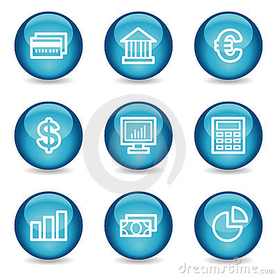 Finance web icons, blue glossy sphere series