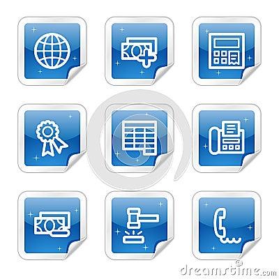 Finance web icons, blue sticker series set 2