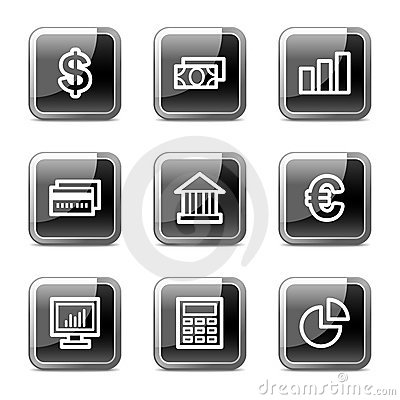 Finance web icons, glossy buttons series