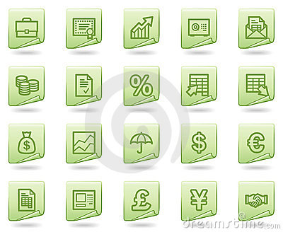Finance web icons, green document series