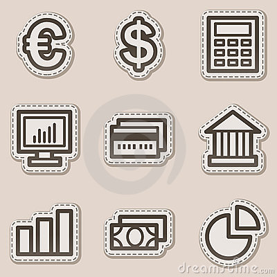 Finance web icons set 1, brown contour sticker