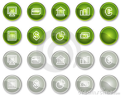 Finance web icons set 1, circle buttons series