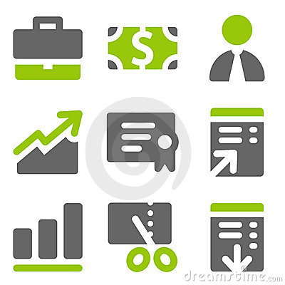 Finance web icons set 1, green grey solid icons