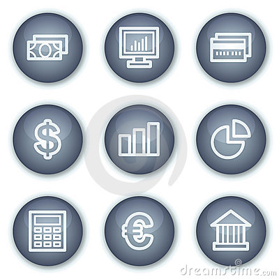 Finance web icons set 1, mineral circle buttons