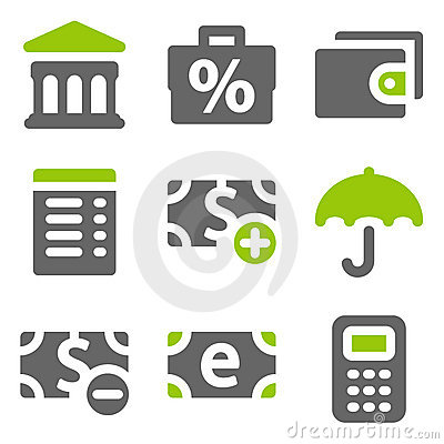 Free Finance Web Icons Set 2, Green Grey Solid Icons Royalty Free Stock Photo - 17881535