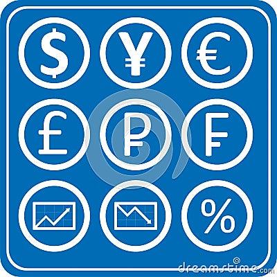 Finances et paquet de graphismes de devise