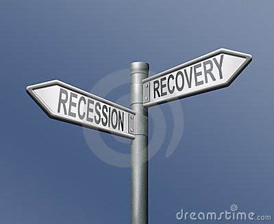 Financiële recessie of terugwinning of bankcrisis