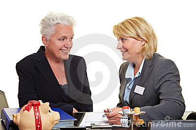 Financial adviser with senior woman