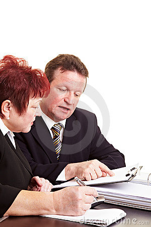 Financial advisor explaining