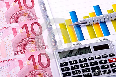 Financial Analysis with charts. european currency