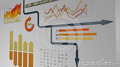 Financial charts. Arrow running on financial charts