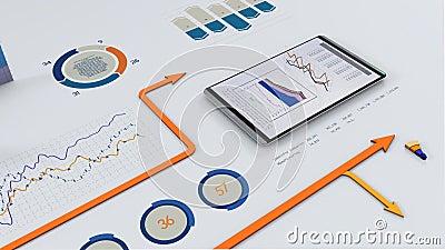 Financial charts. Arrow running on financial charts stock illustration