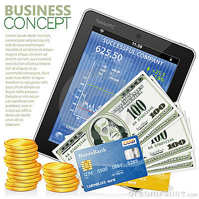 Financial Concept with Tablet PC, Dollars, Coins