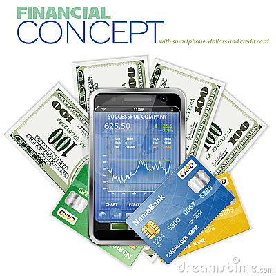Financial Concept with Touchphone and Dollar