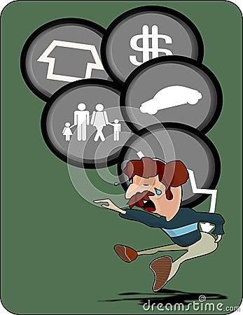 Financial crisis debt loan illustration