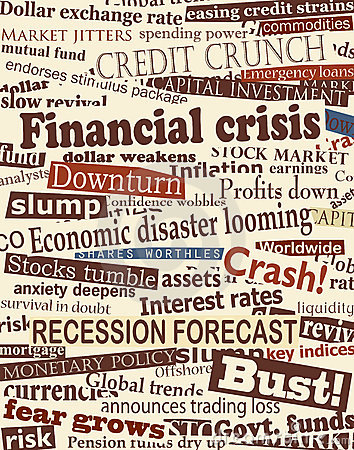 Financial Crisis Headlines Stock Photo - Image: 15707200