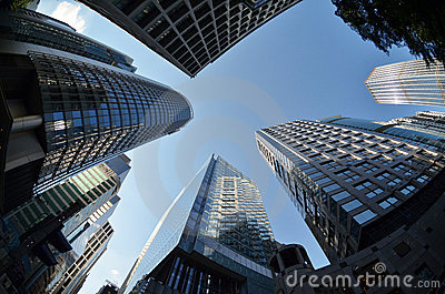 Financial district Central skyscrapers Hong Kong