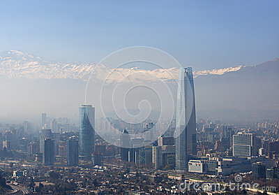 Financial District of Santiago de Chile, capital of Chile. Editorial Stock Photo