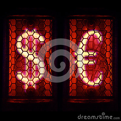 Free Financial Dollar Signs And The Euro. Nixie Tube Indicator Stock Photography - 72123682