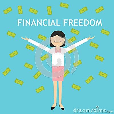 Financial freedom woman standing money rain Vector Illustration