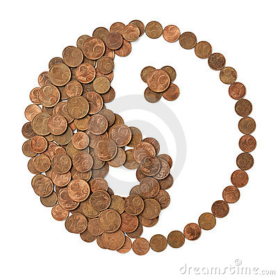 Financial harmony. Yin Yang symbol made of money