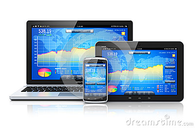 Financial Management On Mobile Devices Royalty Free Stock Image - Image: 32753086