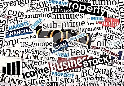 Financial newspaper cuttings.