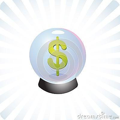 Financial prediction crystal ball illustration