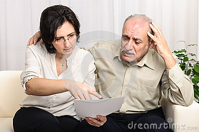 Financial problems sad elderly man